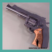 3d smith wesson m29 revolver gun model
