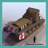 mark tank whippet britain 3d max