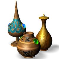 3d model bottle indian