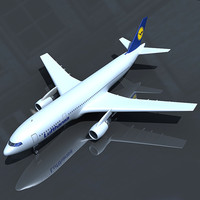 3d model of airbus 300 lufthansa