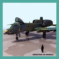 a10 thunderbolt twin-engine jet aircraft 3d max