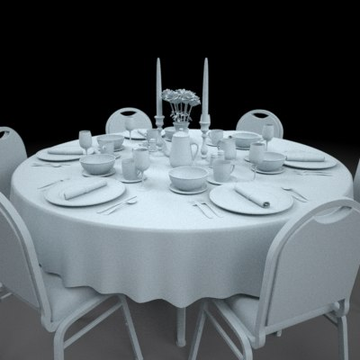 dinning table set plate 3d model