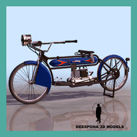 1912 henderson antique motorcycle 3d max