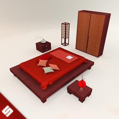 3d model of japanese bedroom set bed