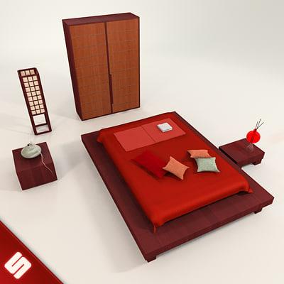 3d model of japanese bedroom set bed japanese bedroom set by