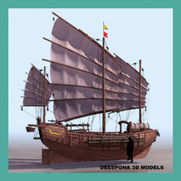 3d model junk chinese sailing vessel ship