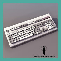 3d model of pc keyboard workstation ultradetailed
