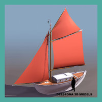 3d cotre kurun sailboat ship