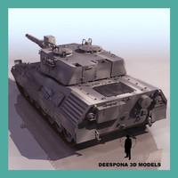leopard german tank 3d max