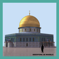 muslim jerusalem building dome 3d model