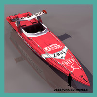 3d offshore powerboat racing ship model