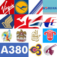 A380 COLLECTION, 14 Commercial Airlines