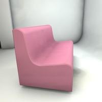 pink sofa 3d model