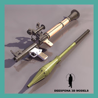 3d rpg-7 antitank russian rocket model