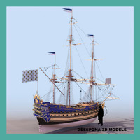 3d model french ship soleil royal