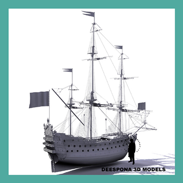 3d model french ship soleil royal - French ship Soleil Royal (1670)... by De Espona
