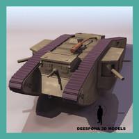 3ds max british mark iv tank