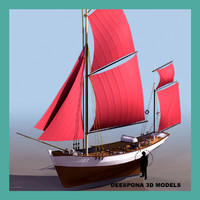 3d thonier armor fishing sailboat