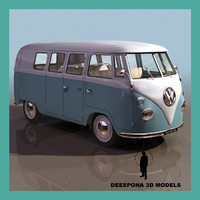 german van bus 1950 3d model
