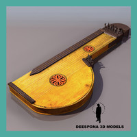 zither musical string instrument 3d max