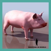 domestic farm pig 3d max