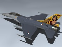 3d model of f-16am falcon dirty diana