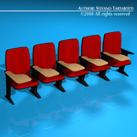 lecture hall chairs 3d model
