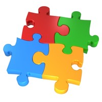 3d colorful puzzle model