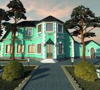 3d model villa facade