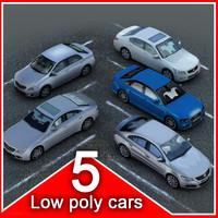 5 low poly Sedans