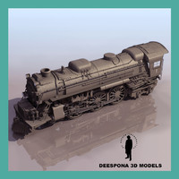 3d model steam locomotive 2-6-6-4 train