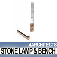 lwo original street lamp park bench