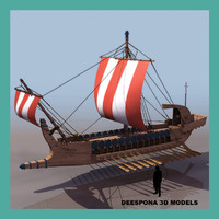 ancient greek warship 500-322 3d model
