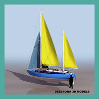 moon light yacht sailboat 3d model