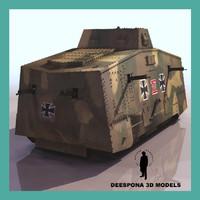 3d sturmpanzerwagen a7v wotan german tank model