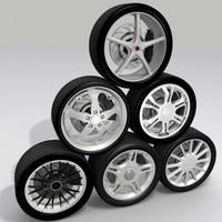 3d wheel brakes tires model