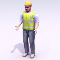 construction workman work 3d max