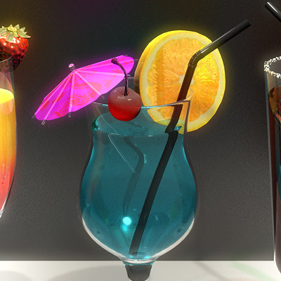 cocktails ice parasol 3d model - Cocktails (Collection)... by Pekdemir
