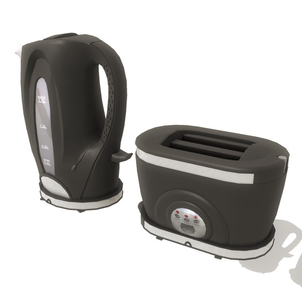 3d kettle toaster set - Kettle and Toaster set 003... by icreate
