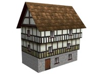 Lowpoly Medieval House with interior