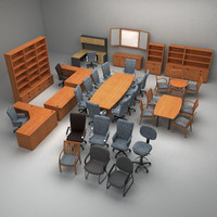 3d model set office furniture
