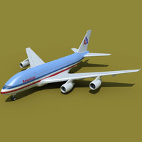 380 airbus american airlines 3d 3ds