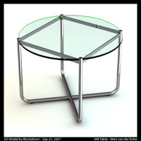 mies van glass table 3d ma