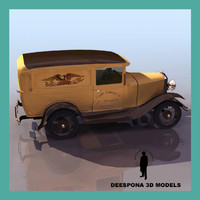 3d 1910s antique van car truck
