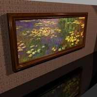 elegant cherry wood framed 3d model