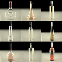 alcohol bottles 3d model