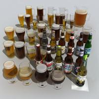3d beer bottles