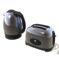 3d kettle toaster set model