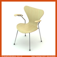 3d arne jacobsen chair model