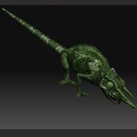 chameleon lizard 3d obj